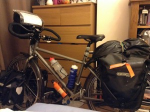 My bicycle, Monty, fully loaded for the first time. Aka the Full Monty