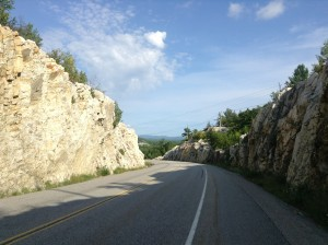 Headed towards Manitoulin the landscape become hilly and beautiful again