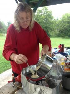 Tina making pancakes