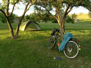 Our campsite for the night. Monty doubles up as a washing line.
