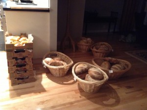 This is what a bakers front room looks like the evening before market day