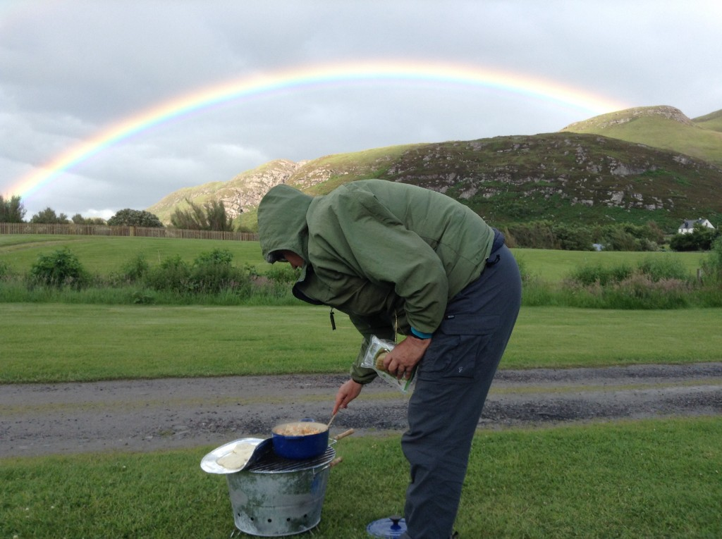Rainbow over campfire curry, a beautiful end to the end
